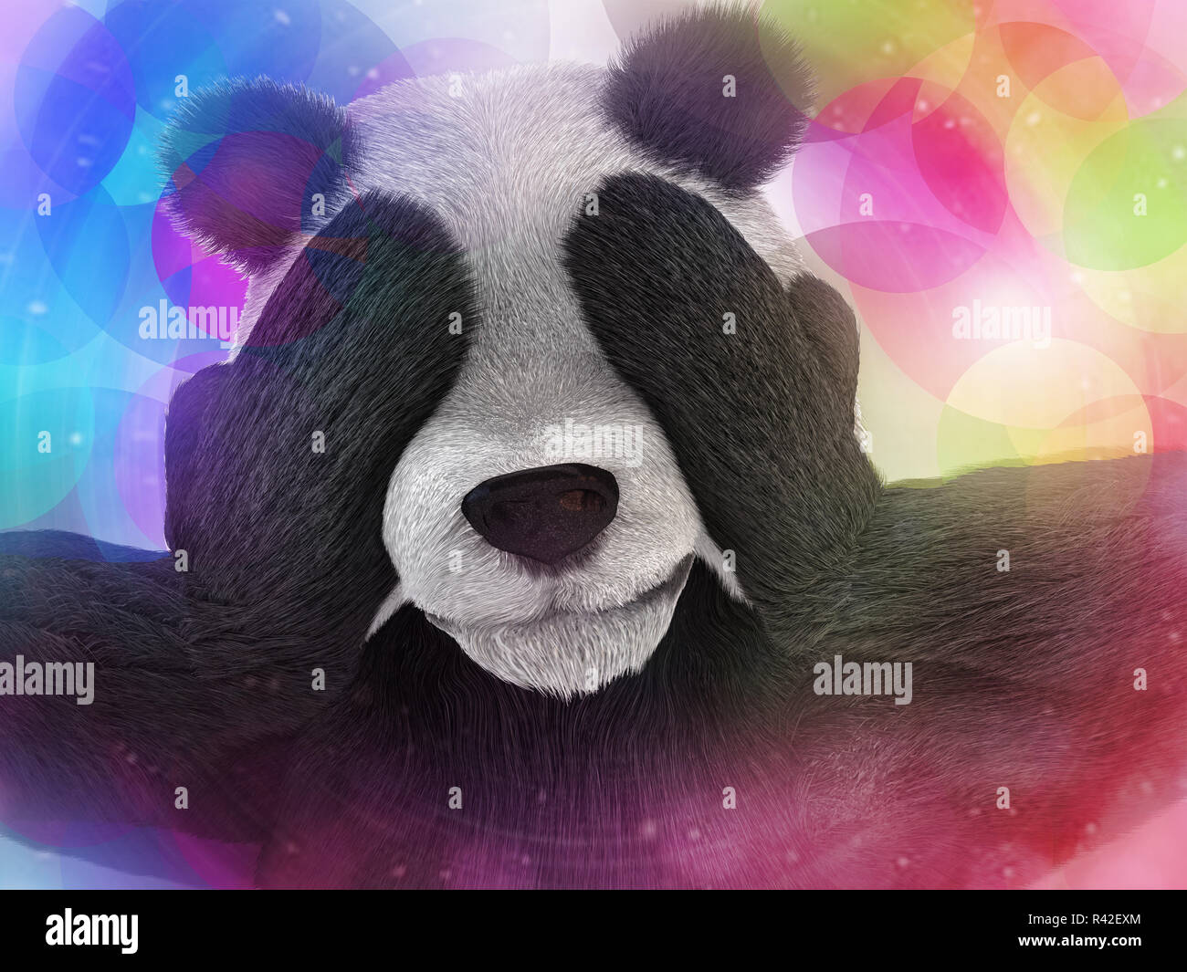 sick character panda bamboo junkie experiencing strong hallucinations and fear closes the muzzle paws. Psychedelic condition of the animal. - Stock Image