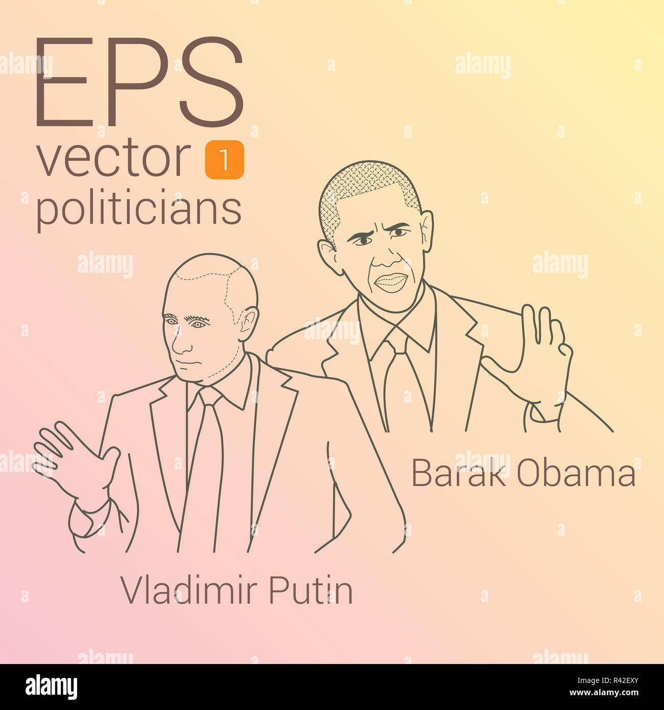 vector portrait of two presidents Barack Obama and Vladimir Putin - Stock Image