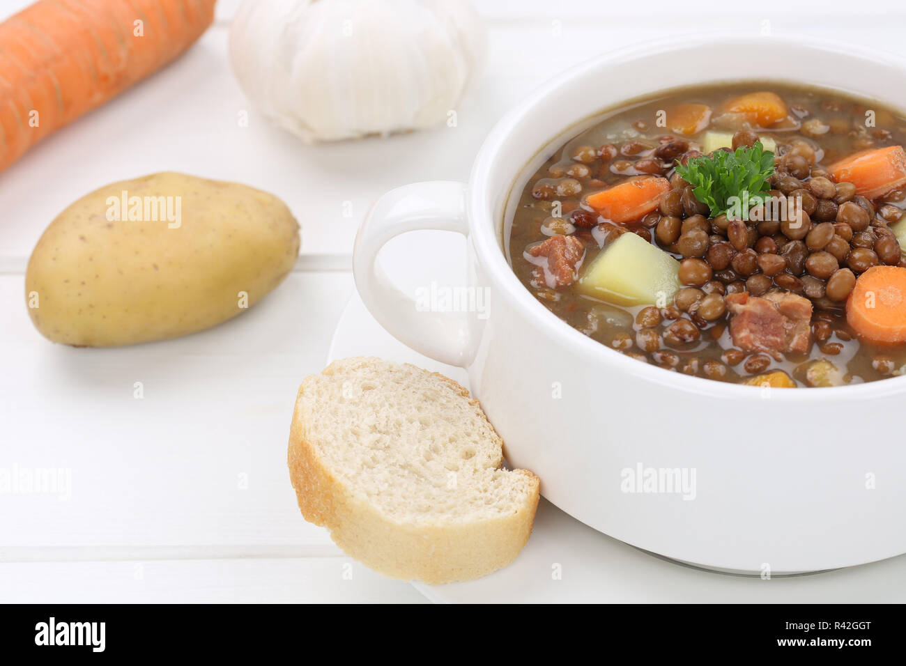lentil soup with lentils soup close Stock Photo