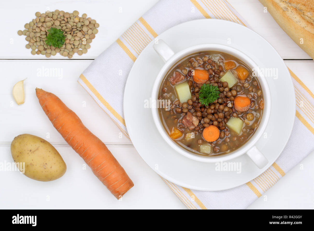 lentil lentils soup in soup cup from above Stock Photo