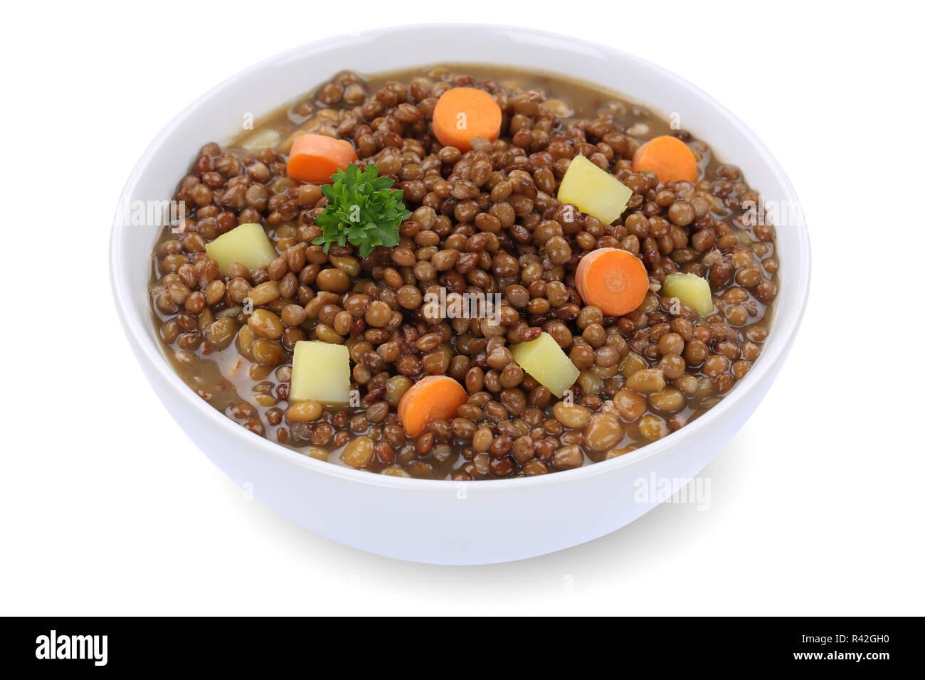lentil lentils soup in soup bowl cut Stock Photo