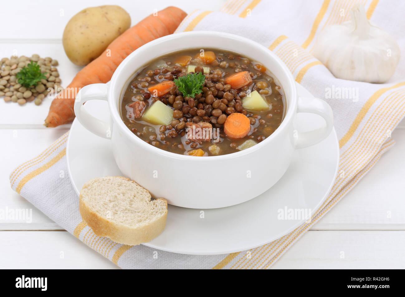lentil soup with lentils soup in soup bowl Stock Photo