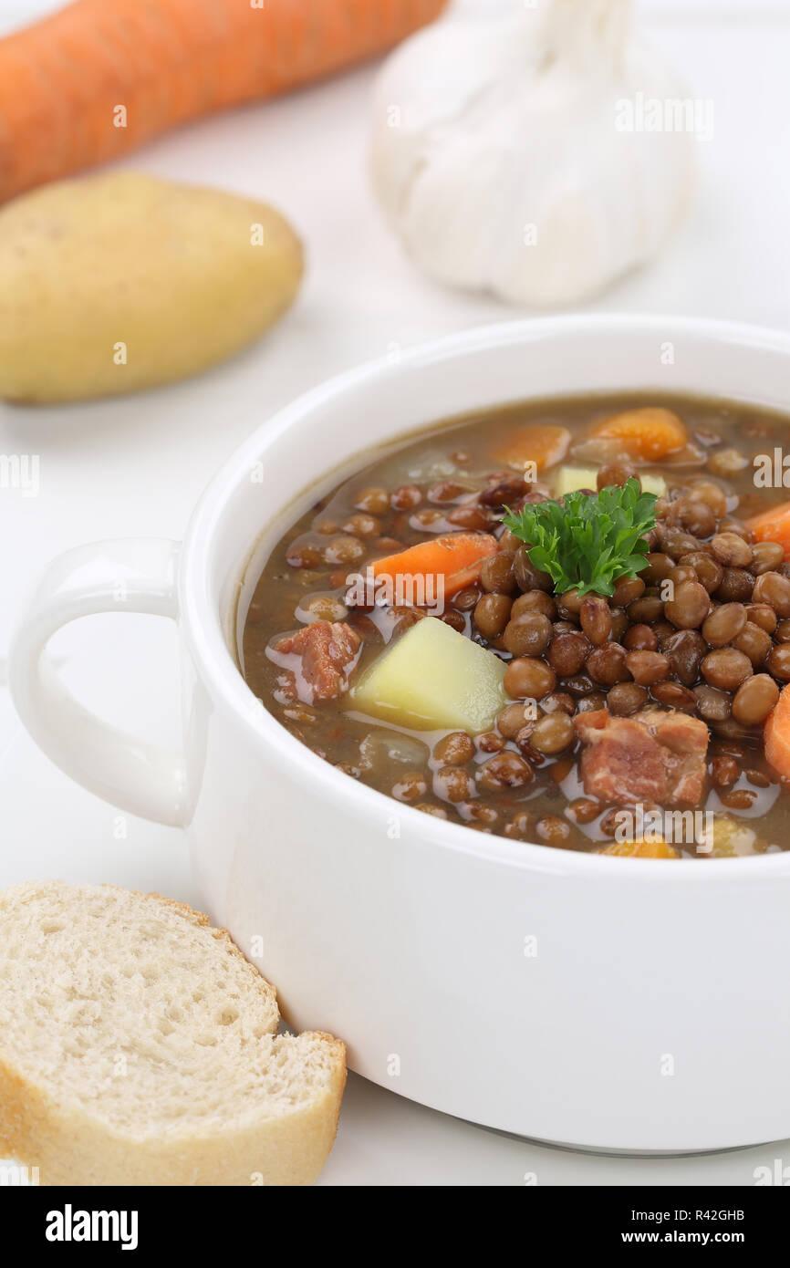 lentil soup with lentils soup close Stock Photo