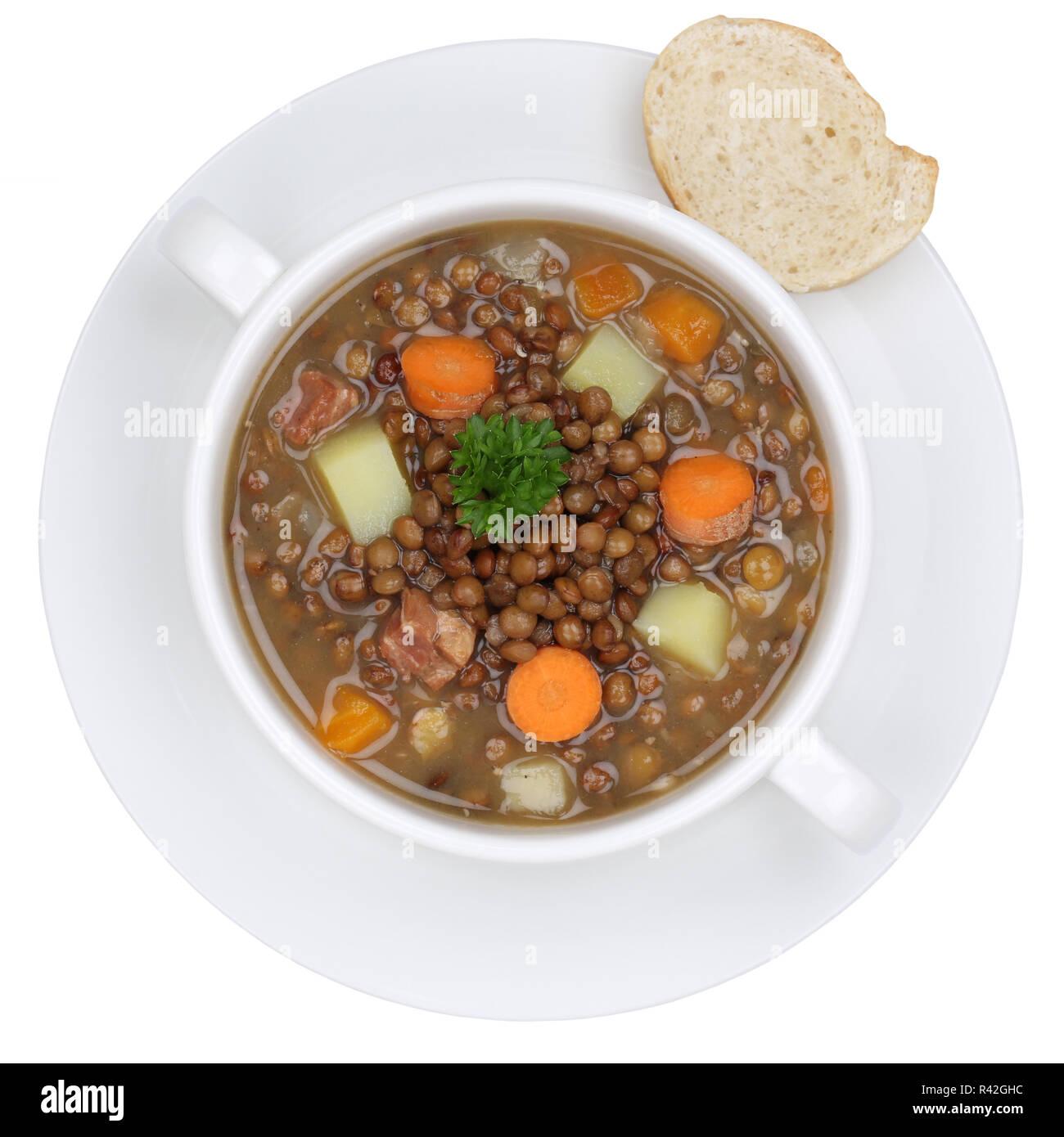 lentil lentils soup in soup bowl cut from the top Stock Photo