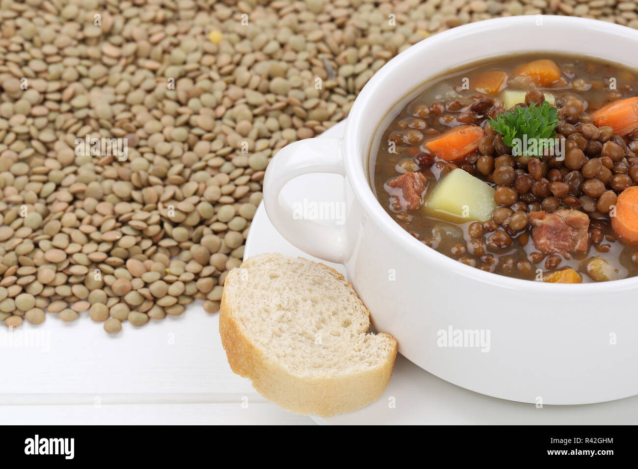lentil soup with lots of lentils and vegetable soup close Stock Photo
