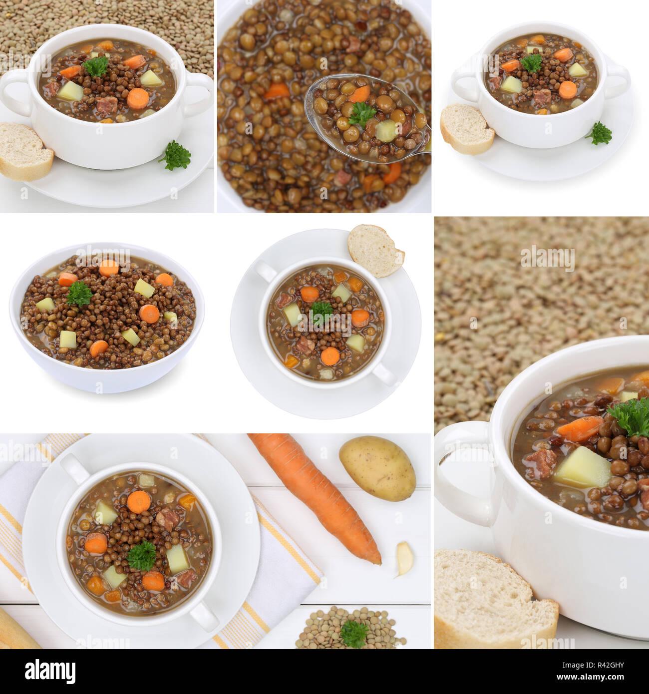 collage lentil soup with lentils soup soups in soup bowl Stock Photo