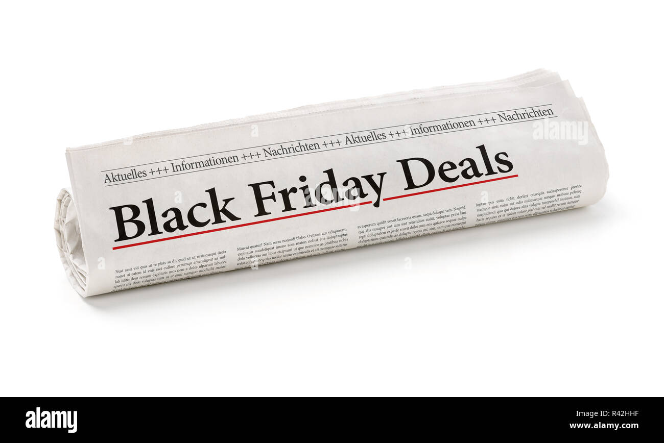 newspaper roll with the heading black friday deals Stock Photo