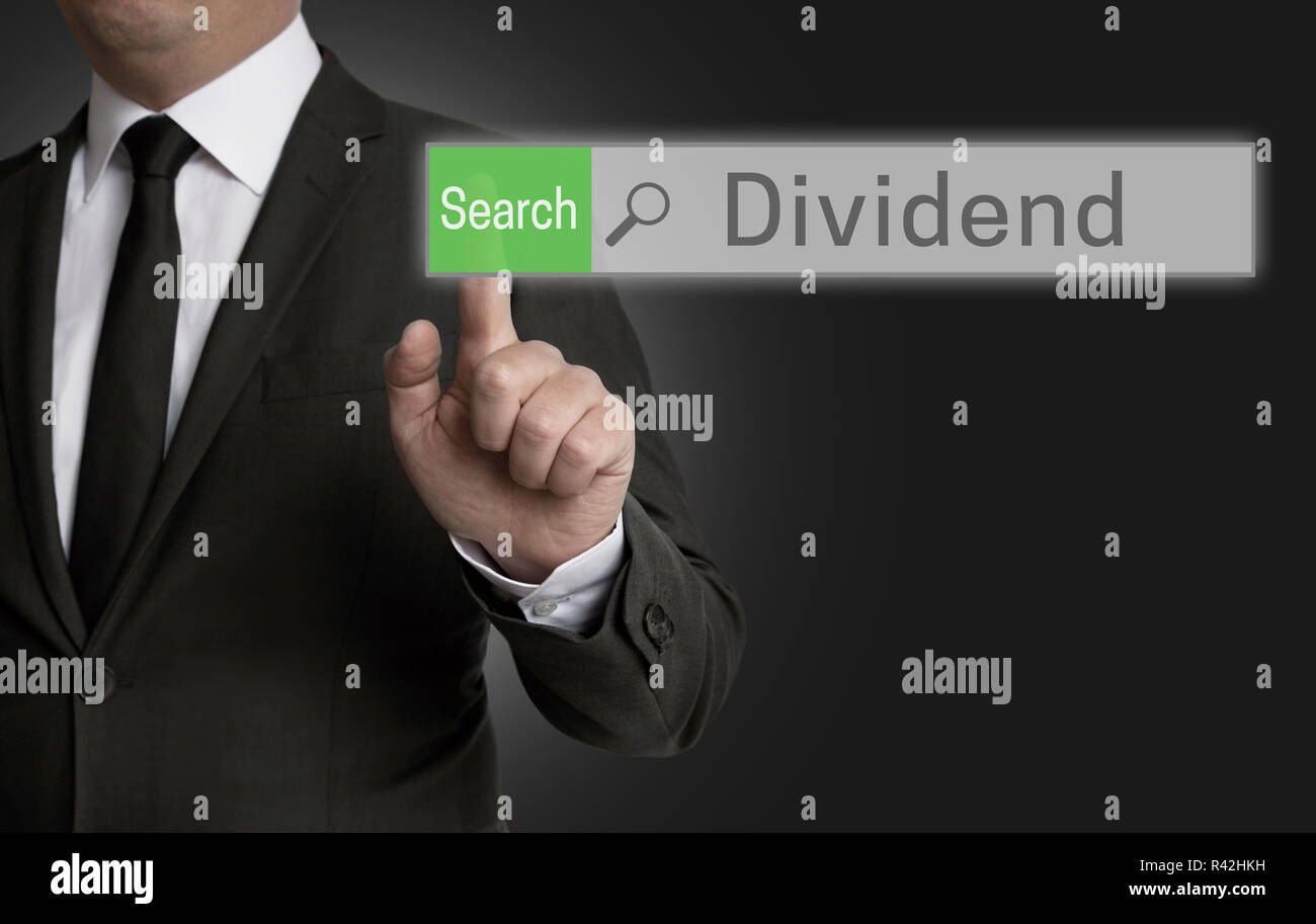 dividend browser is served by businessman concept - Stock Image