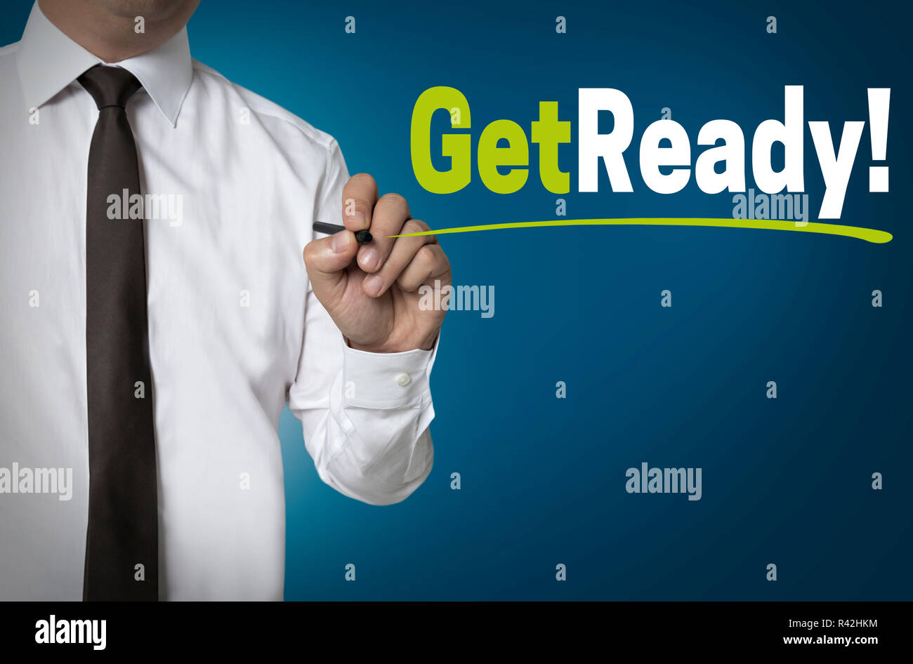get ready written by businessman background concept - Stock Image