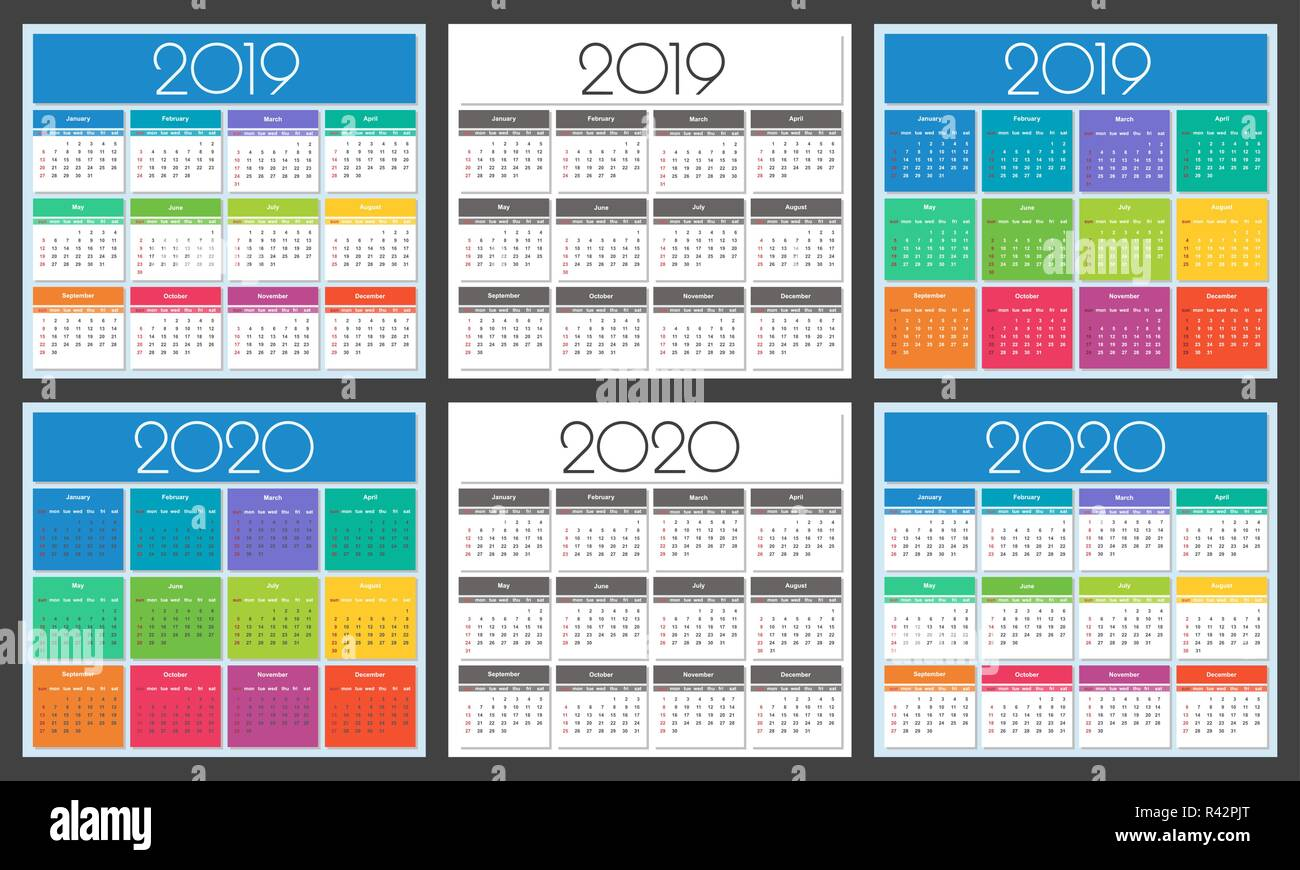 Calendrier Srd 2020.2019 2020 Stock Vector Images Alamy