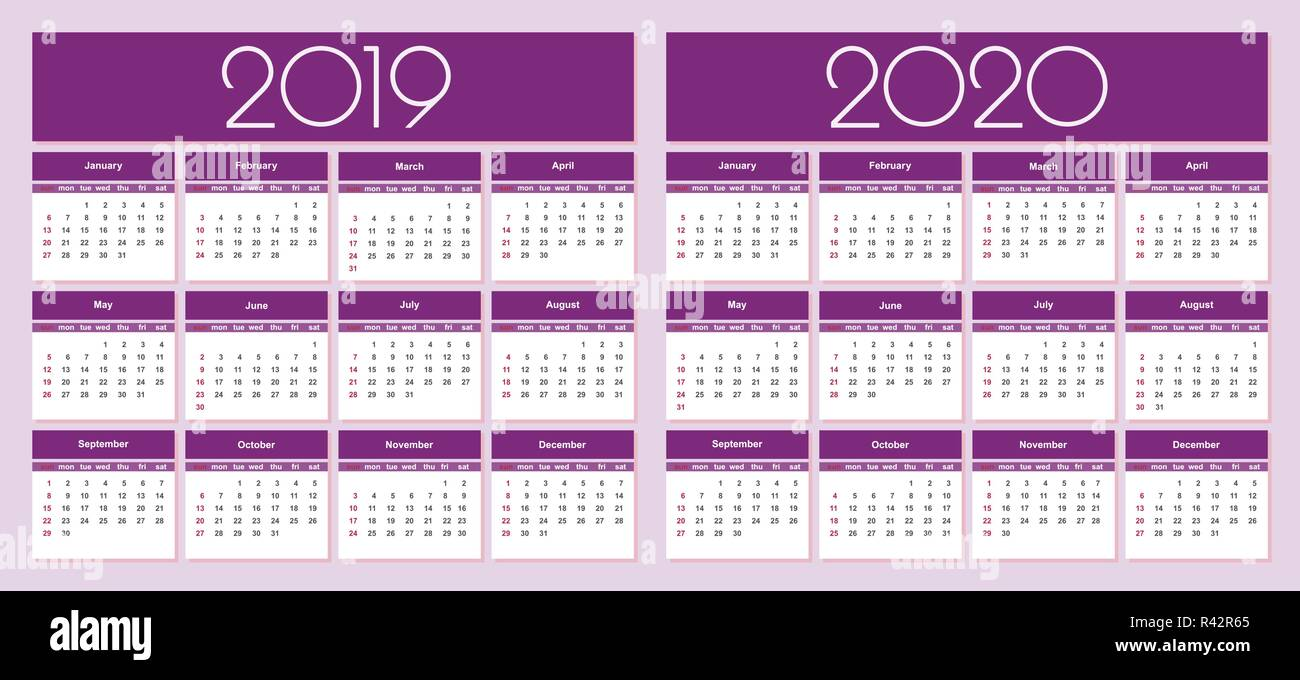 Calendrier Pro A 2020 2019.Calendar For 2019 And 2020 Year Purple Background Simple