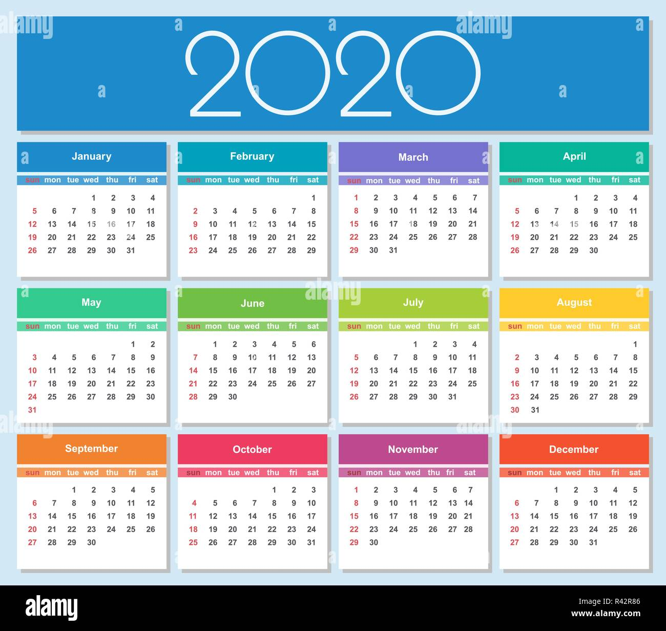 Layout Calendario 2020.Colorful Year 2020 Calendar Simple Vector Template