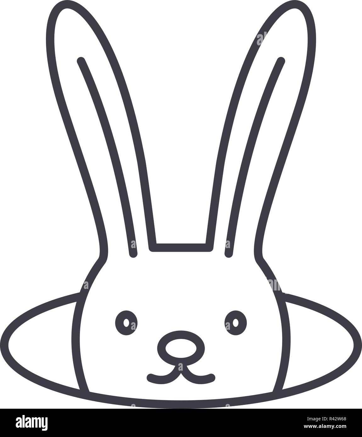 Conjure hare line icon concept. Conjure hare vector linear illustration, symbol, sign - Stock Image