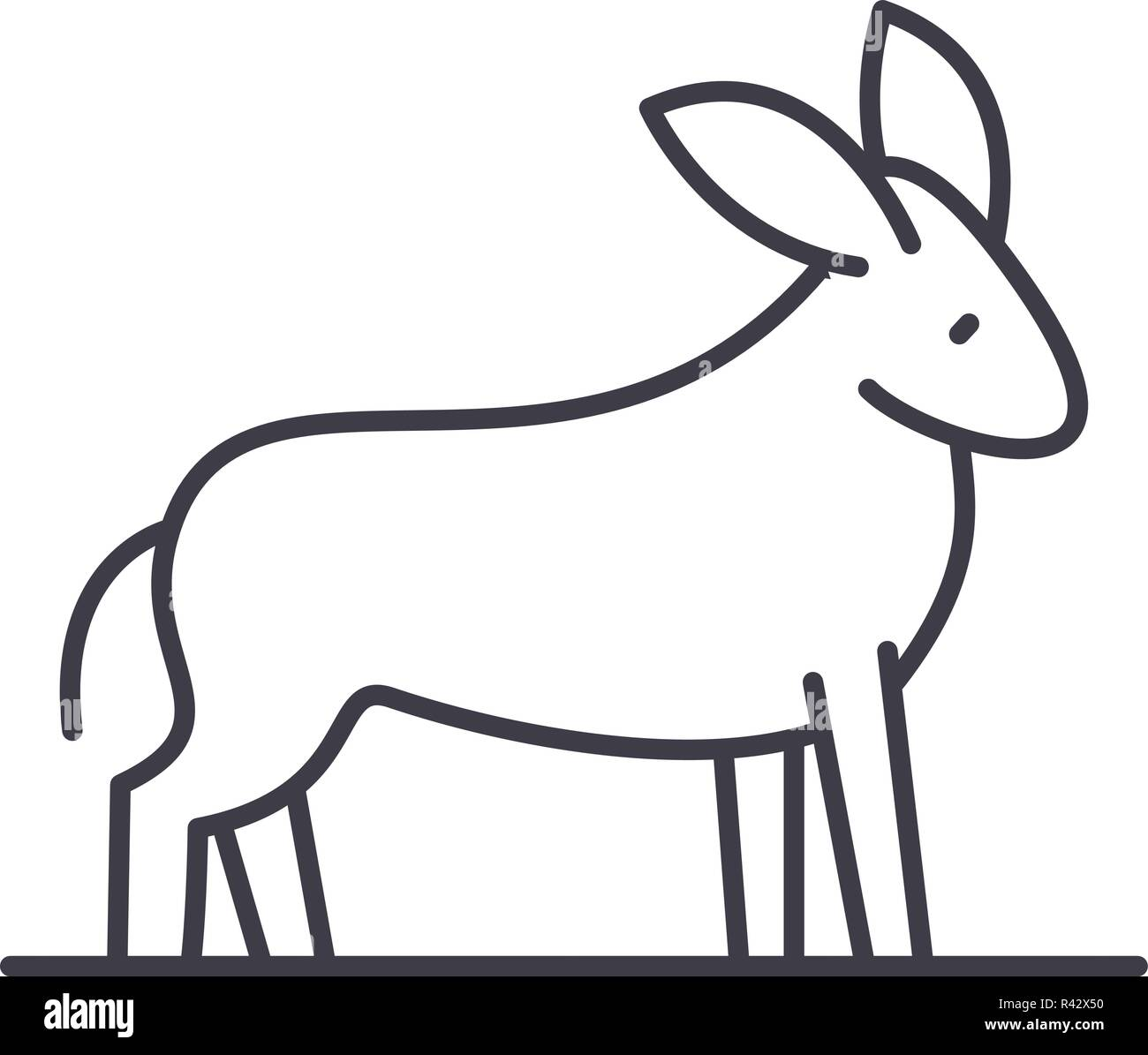 Donkey line icon concept. Donkey vector linear illustration, symbol, sign - Stock Image