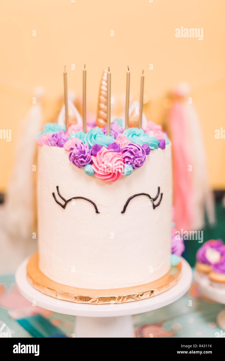 Groovy Tall Unicorn Cake At Little Girls Birthday Party Stock Photo Personalised Birthday Cards Veneteletsinfo