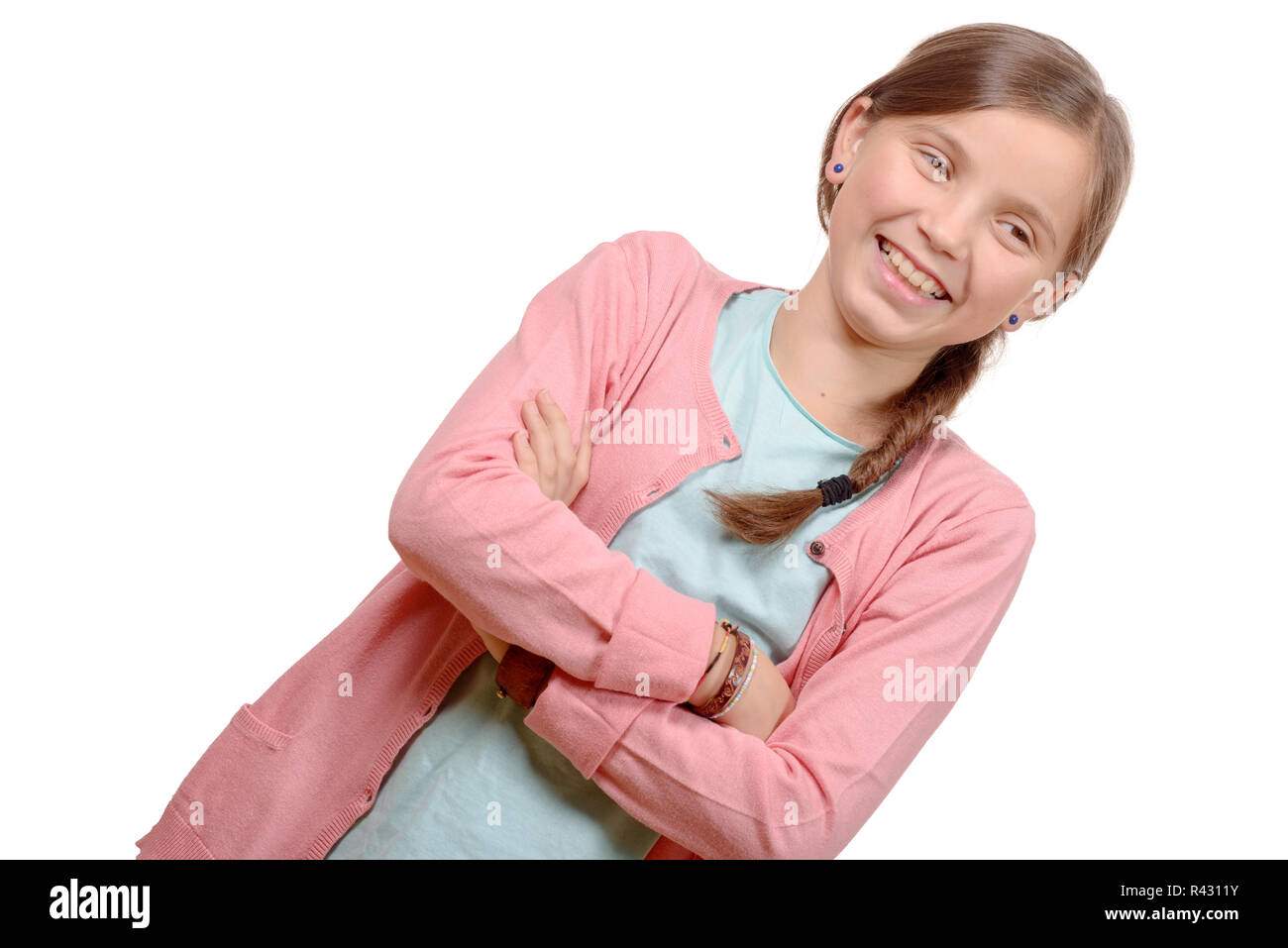 Smiling blond girl with braid. Girl eleven years old Stock Photo