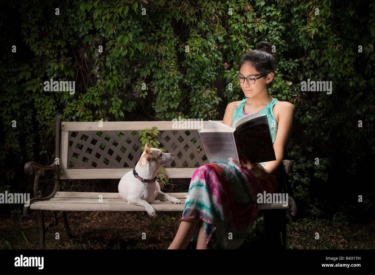 Pets in the home as family member. Latin -Maxican Teenager reading a book and posing with her dog for a portrait at home in the backyard - Stock Image