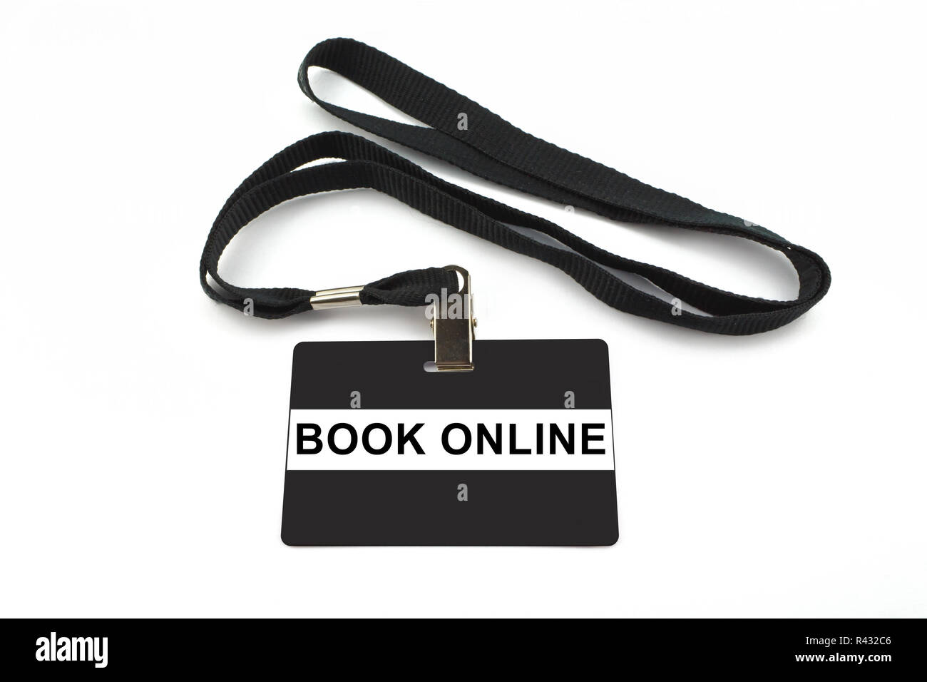 book online badge isolated on white background - Stock Image