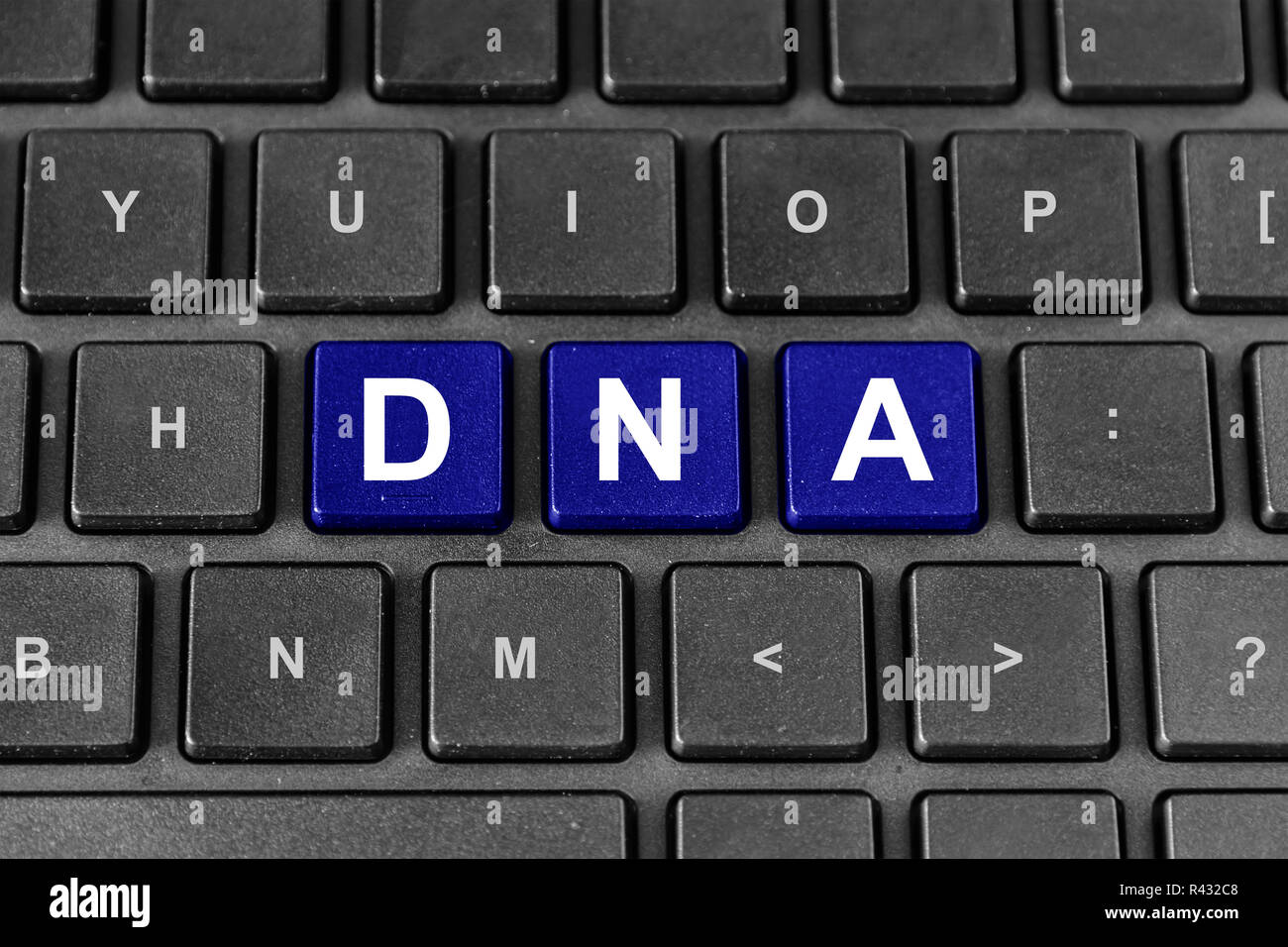 DNA or Deoxyribonucleic Acid on keyboard - Stock Image