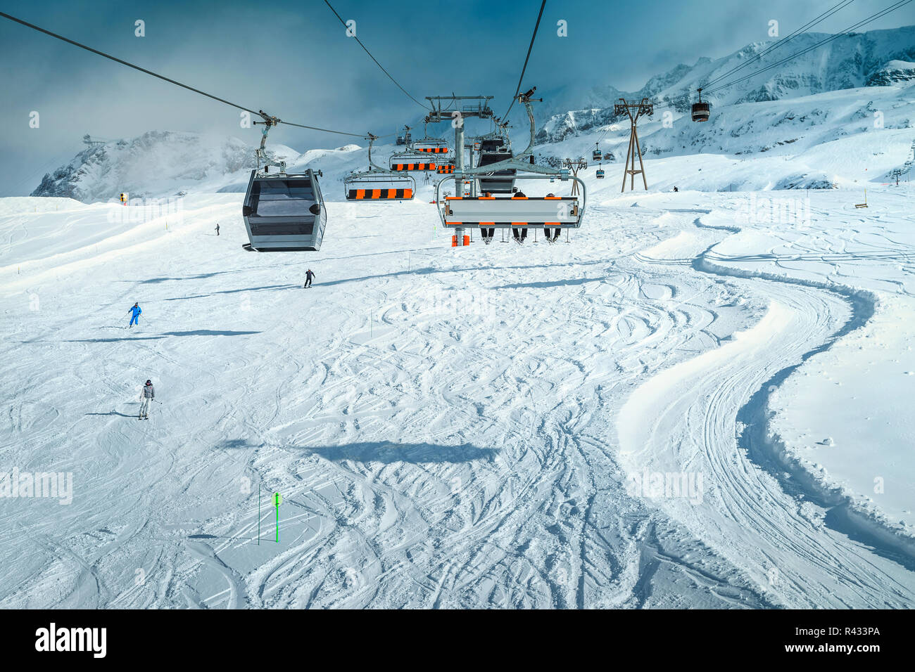 winter holiday travel destination. famous ski resort with stunning