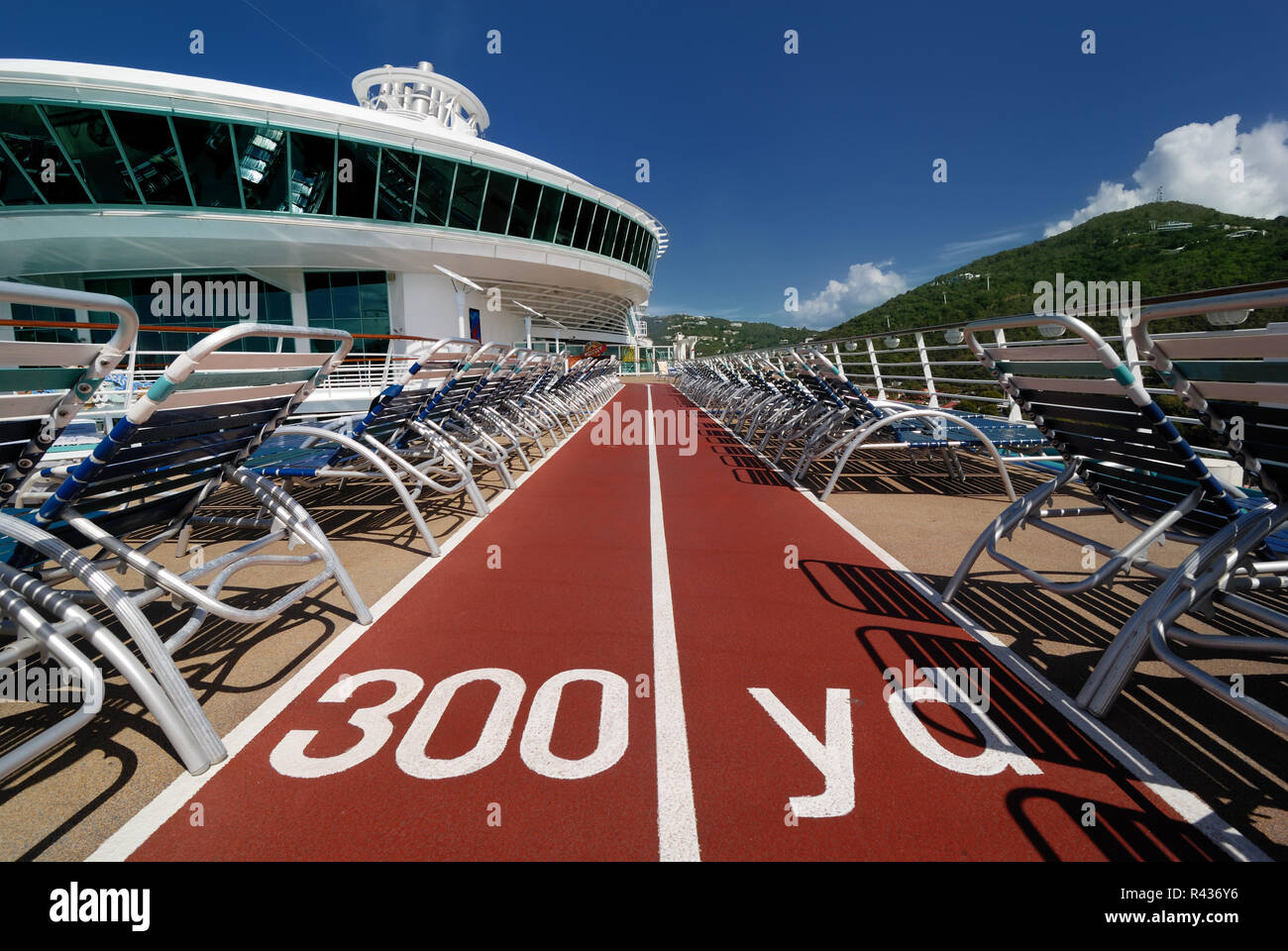 The jogging track on deck twelve of Royal Caribbean's Adventure of the Seas. - Stock Image