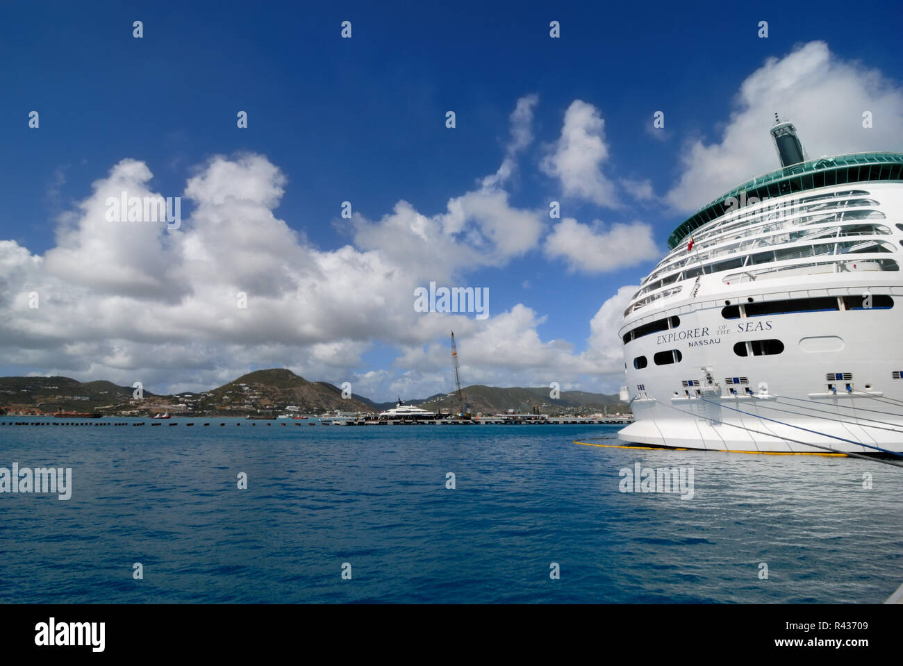 Royal Caribbean's Explorer of the Seas, docked at St. Maarten. - Stock Image