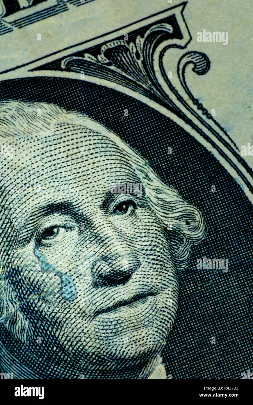 George Washington weeps for the sad state of the American economy. - Stock Image