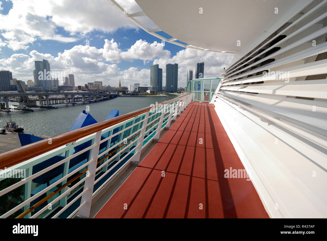 The upper deck area Royal Caribbean Interational's Majesty of the Seas cruise ship, overlooking the port of Miami, Florida. - Stock Image
