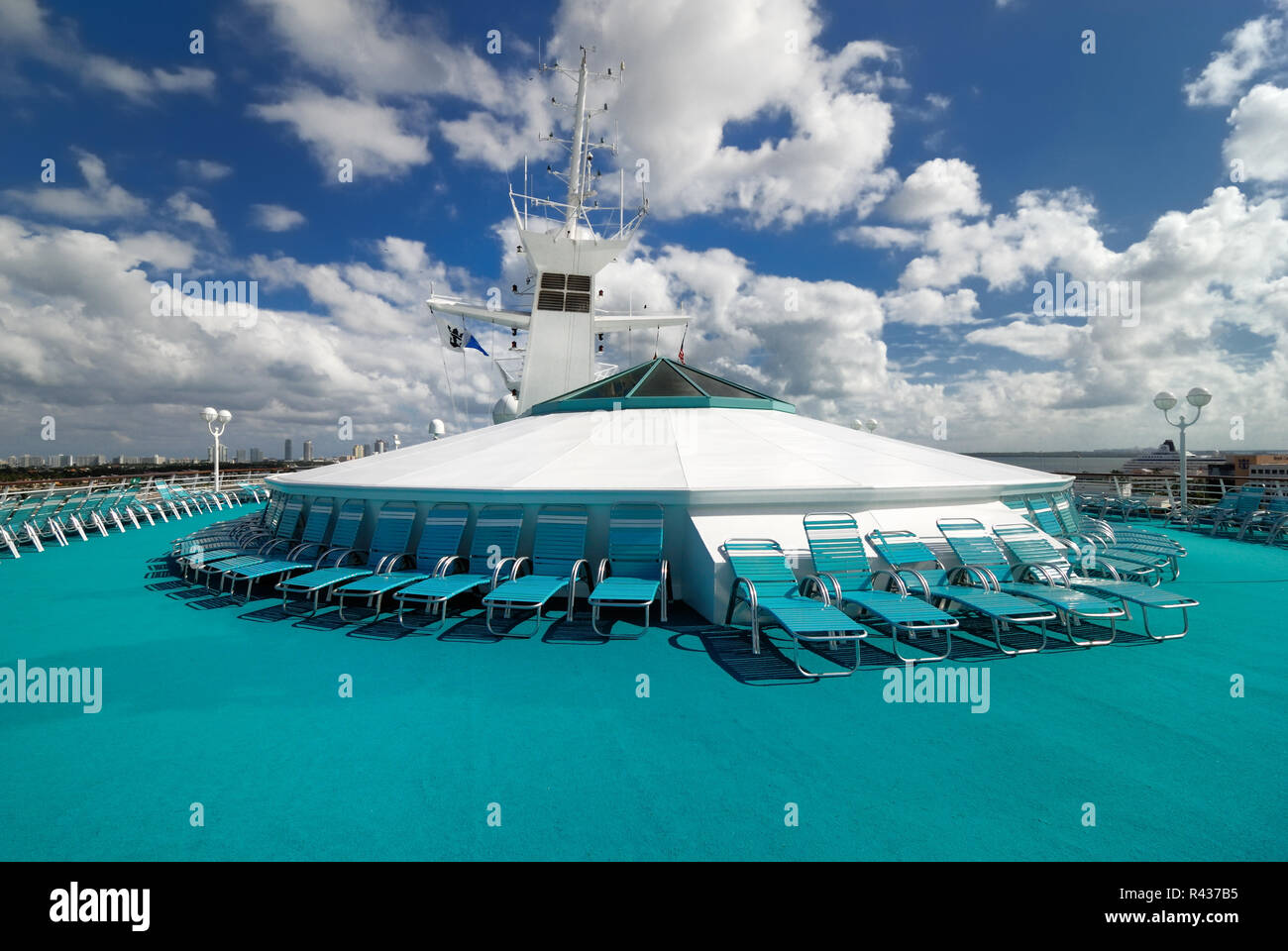 The crow's nest lounge chairs on the upper deck of Royal Caribbean Interational's Majesty of the Seas cruise ship. - Stock Image