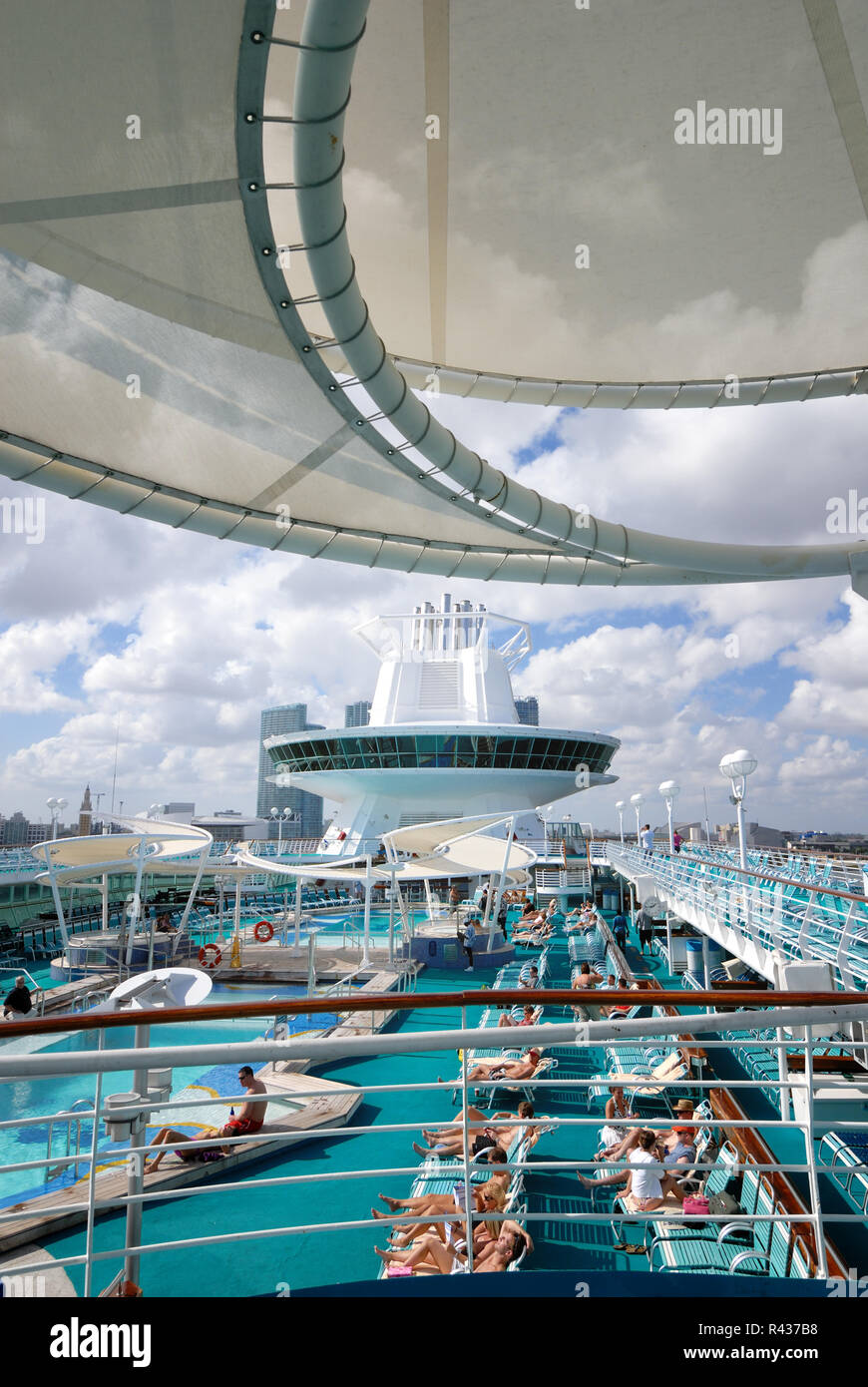 The pool deck on Royal Caribbean Interational's Majesty of the Seas cruise ship. - Stock Image