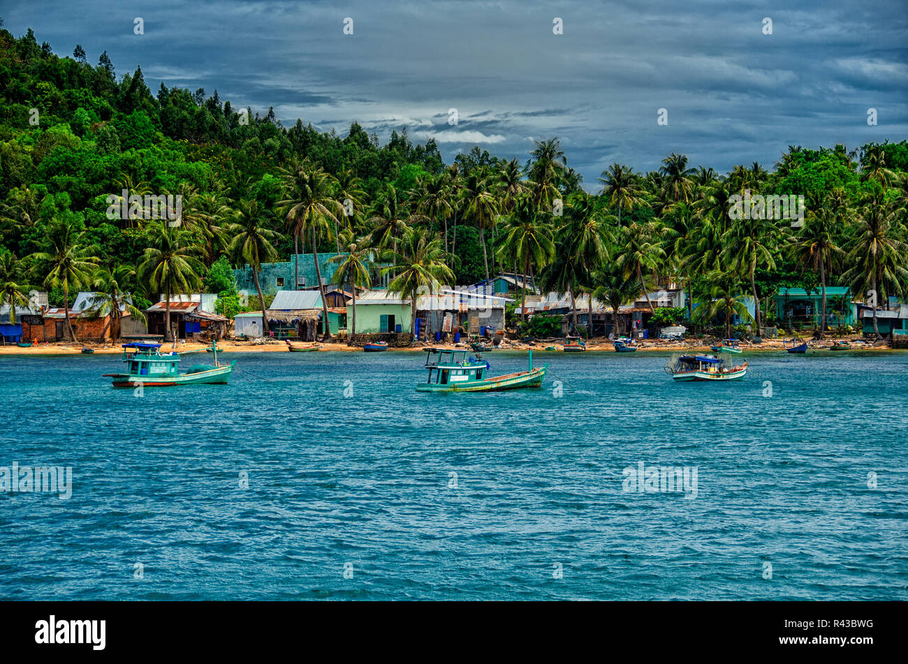 View of Phu Quoc Island in Vietnam from the Ocean - Stock Image