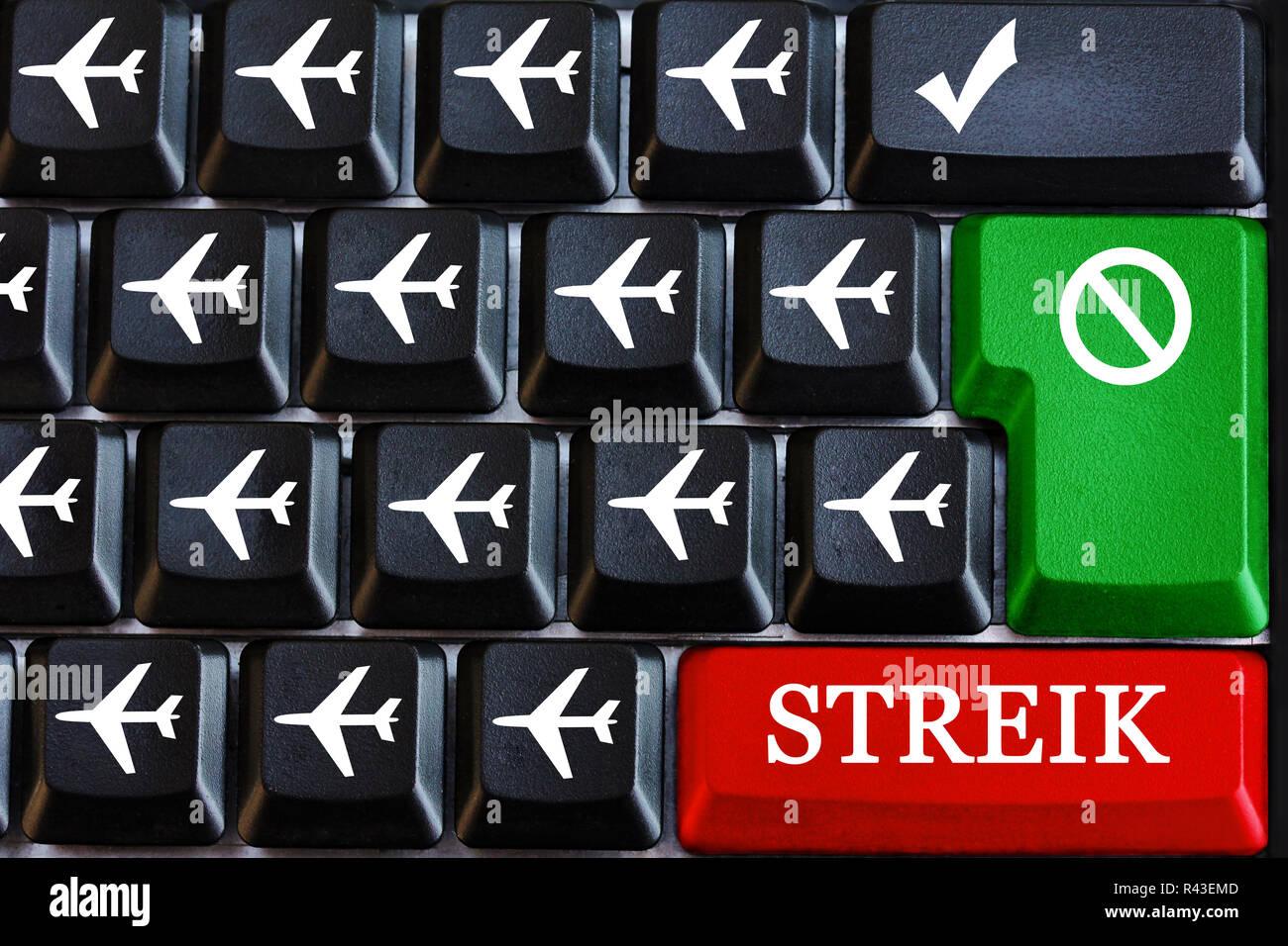 steik aviation - pilot strike - strike of flight attendants - Stock Image