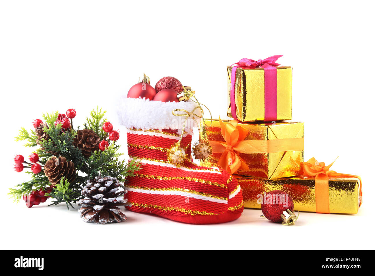 Christmas Shoe.Merry Christmas Composition Santa S Shoe With Gift Boxes