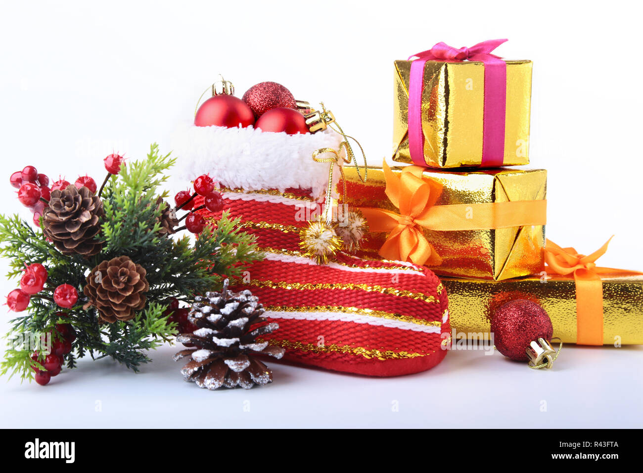 Christmas Shoe.Merry Christmas Composition Santa S Shoe With Gift Boxes On