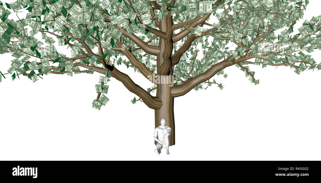 Man Sitting Underneath a Money Tree - Stock Image