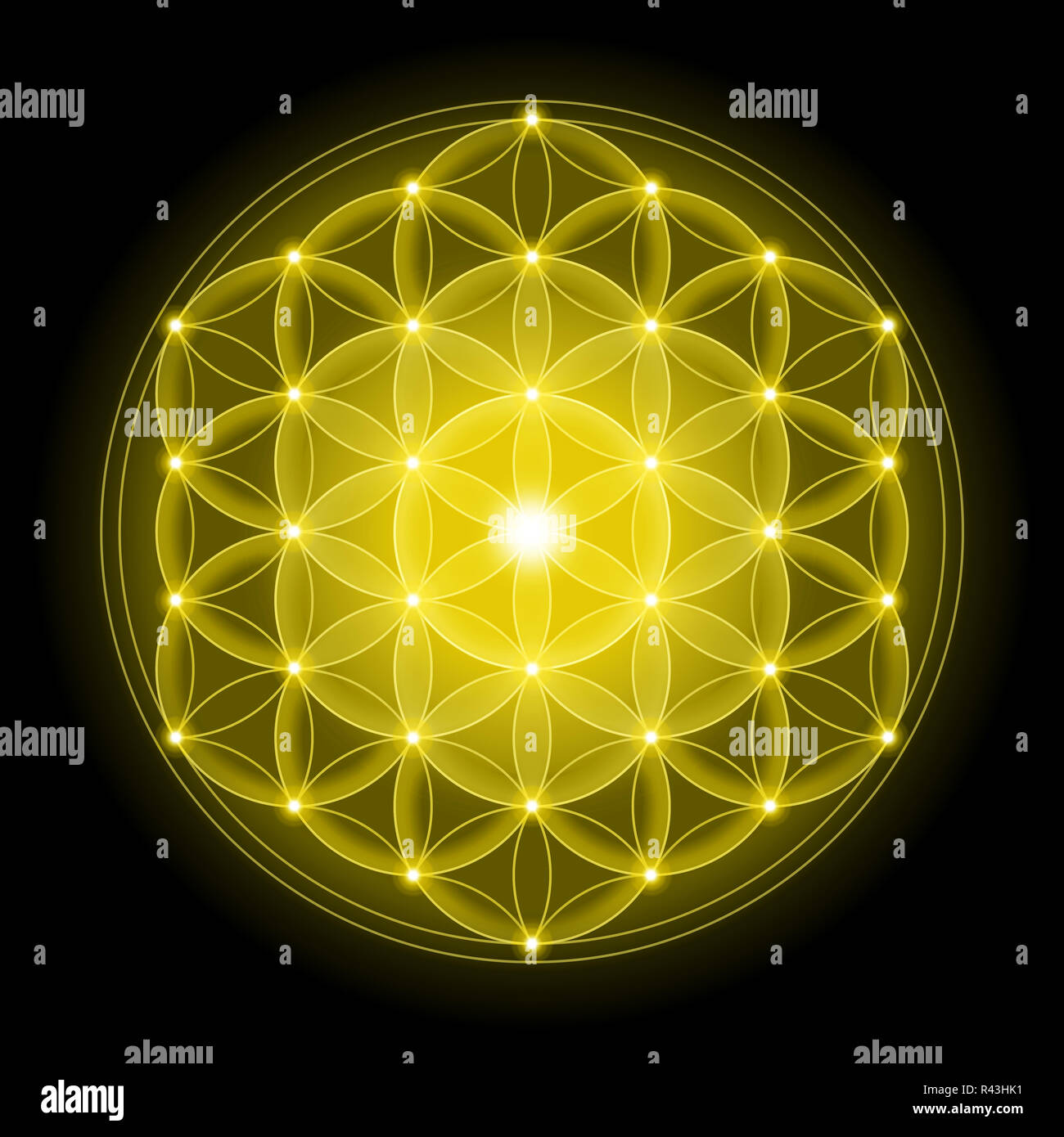 Golden Flower of Life on Black Background - Stock Image
