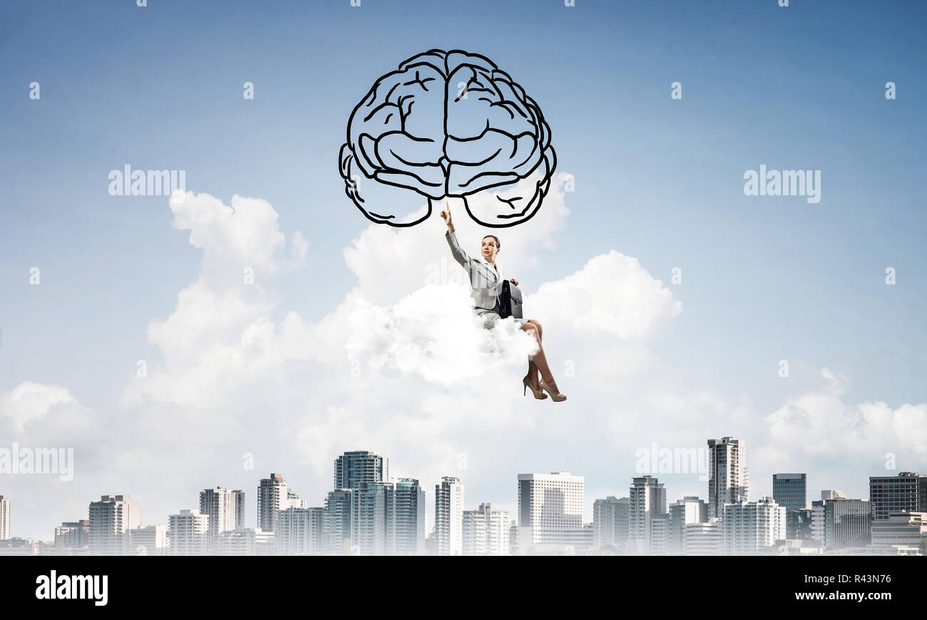 Concept of brainstorming and mind ability with attractive busine - Stock Image