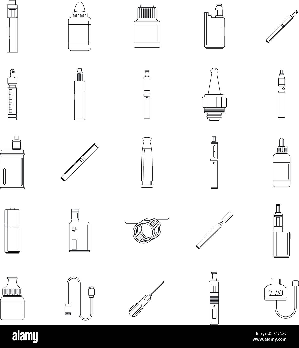 Electronic cigarette mod cig smoke icons set. Outline illustration of 25 electronic cigarette mod cig smoke vector icons for web Stock Vector