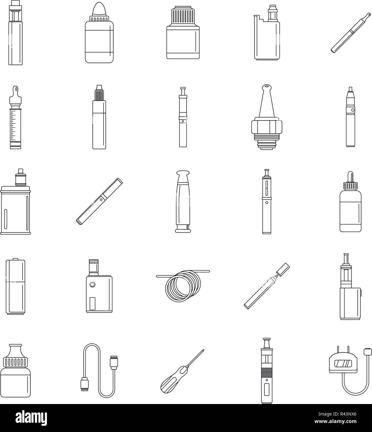 Electronic cigarette mod cig smoke icons set. Outline illustration of 25 electronic cigarette mod cig smoke vector icons for web - Stock Image