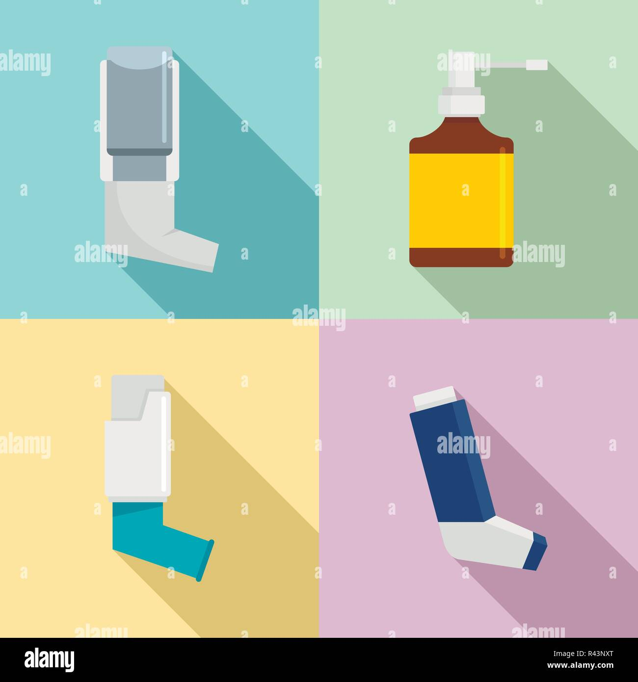 Inhaler breather deep breath health care asthma icons set. Flat illustration of 4 Inhaler breather deep breath health care asthma vector icons for web - Stock Image