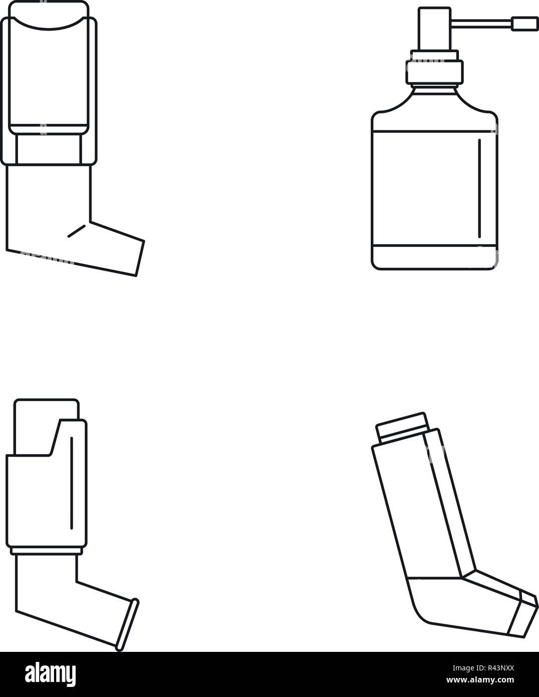 Inhaler breather deep breath health care asthma icons set. Outline illustration of 4 Inhaler breather deep breath health care asthma vector icons for web - Stock Image