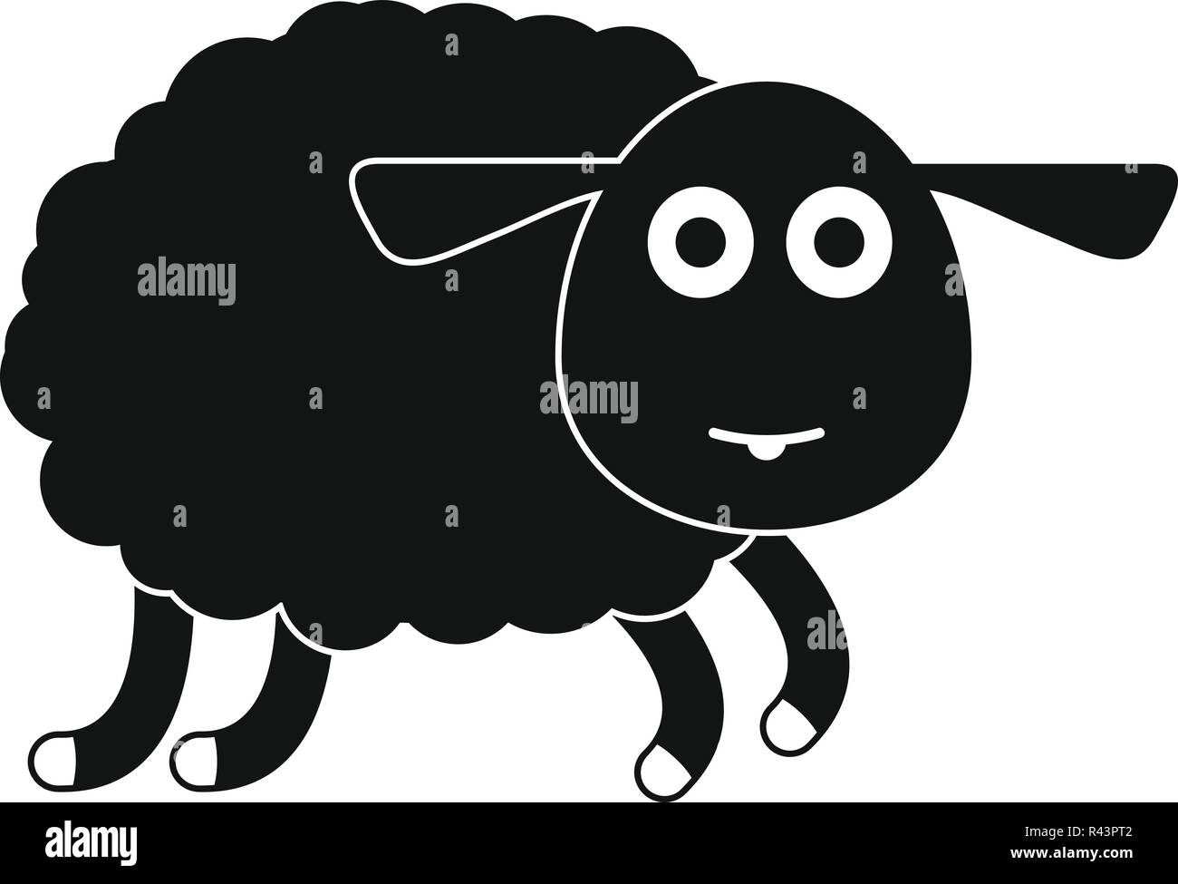 Sheep icon. Simple illustration of sheep vector icon for web design isolated on white background - Stock Vector