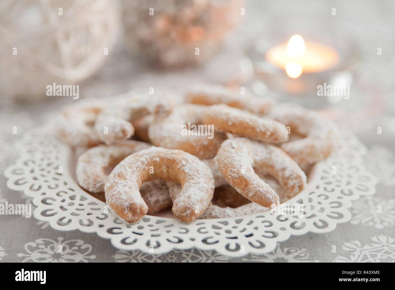 Christmas Vanilla Nut Crescent Cookies Stock Photo 226280222 Alamy
