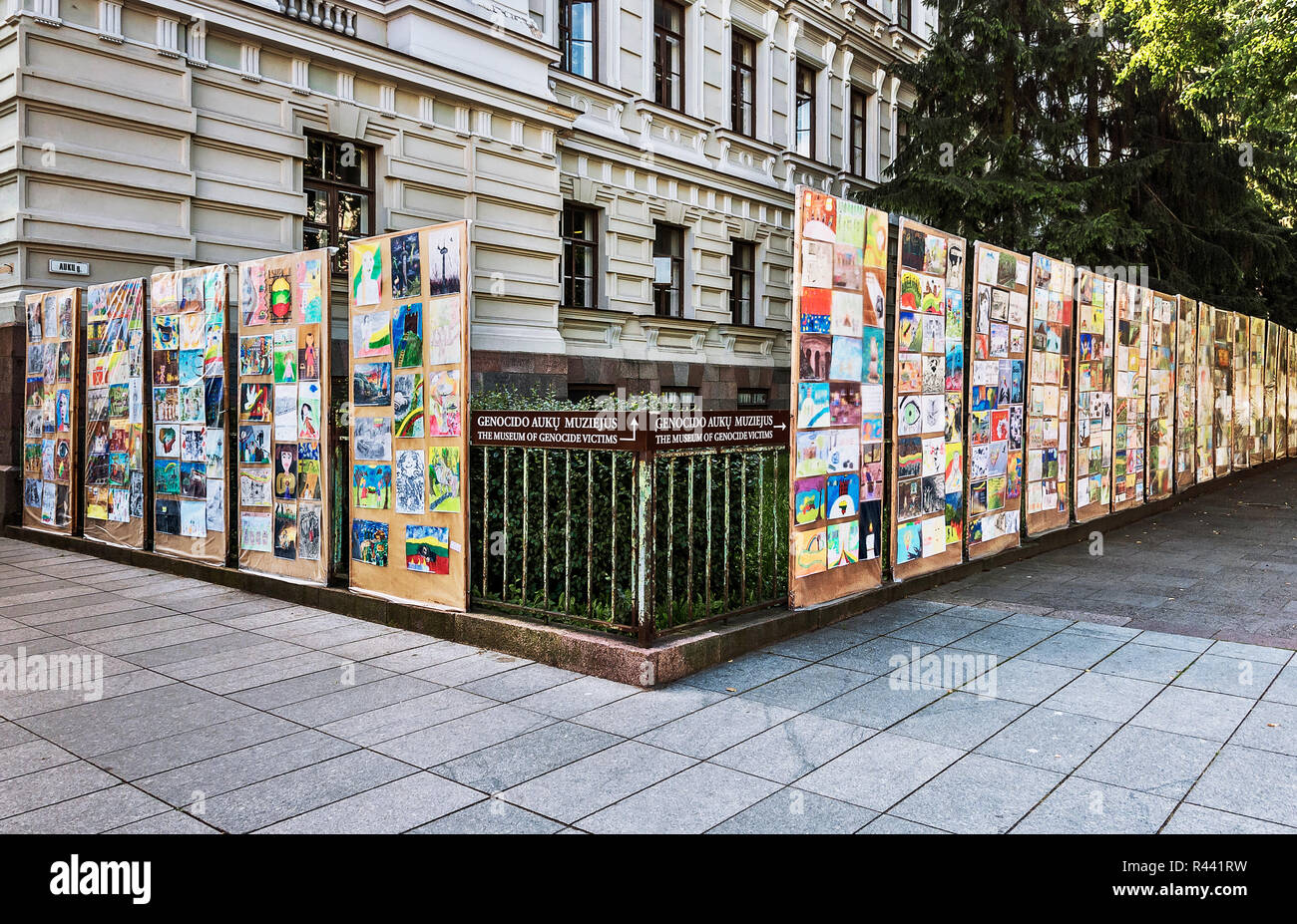 Children paintings about lithuanian genocide, Vilnius, Lithuania - Stock Image