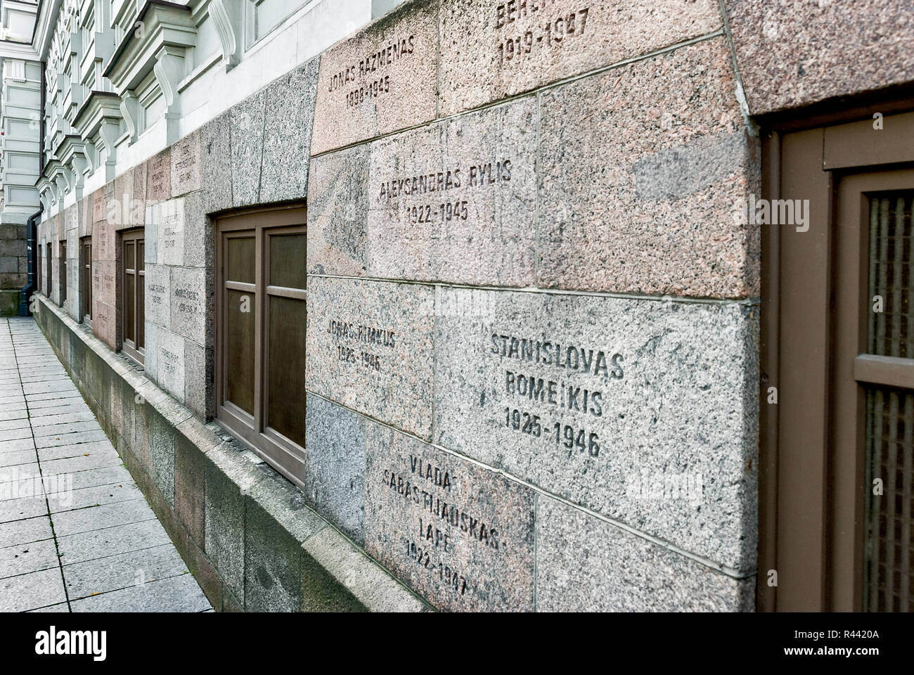 Wall of lithuanian genocide victims, Vilnius, Lithuania - Stock Image