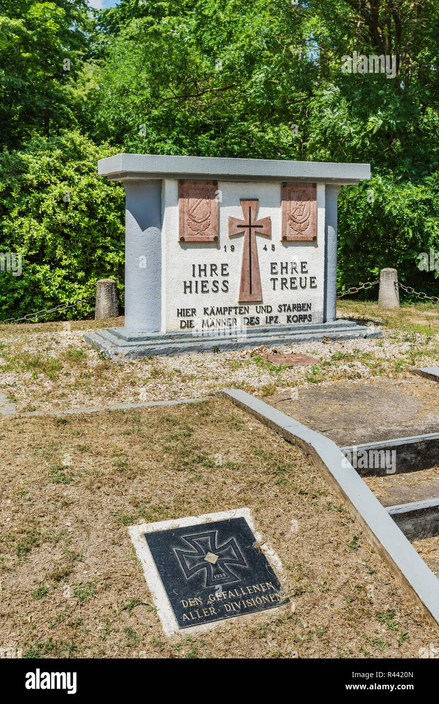 The Waffen-SS Monument is located in the park of the Palais Festetics in Deg, Enying, Fejer county, Central Transdanubia, Hungary, Europe Stock Photo