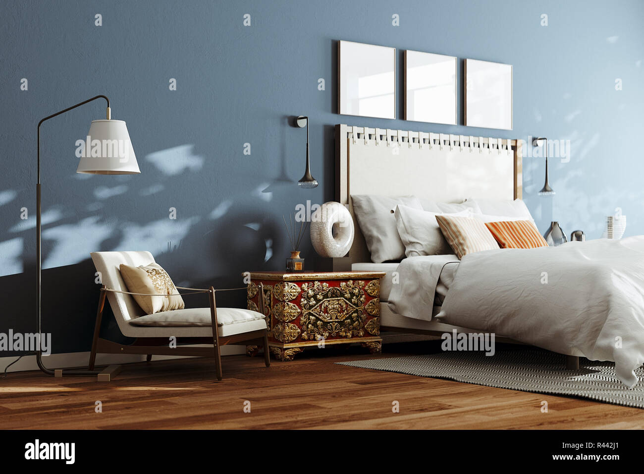 Cozy modern bedroom with lounge chair and floor lamp. 3d render ...