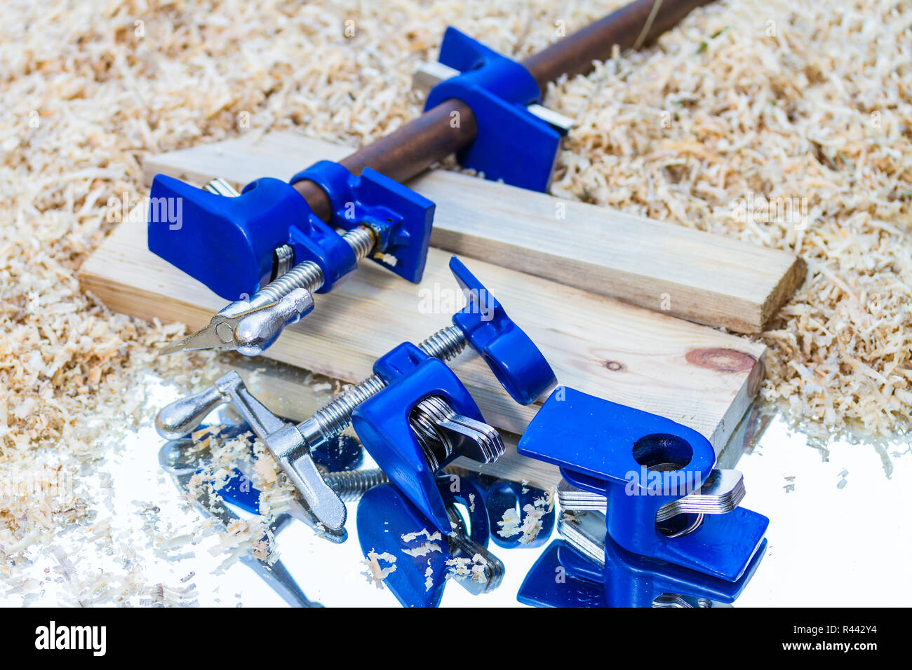 dark blue pipe clamp - Stock Image