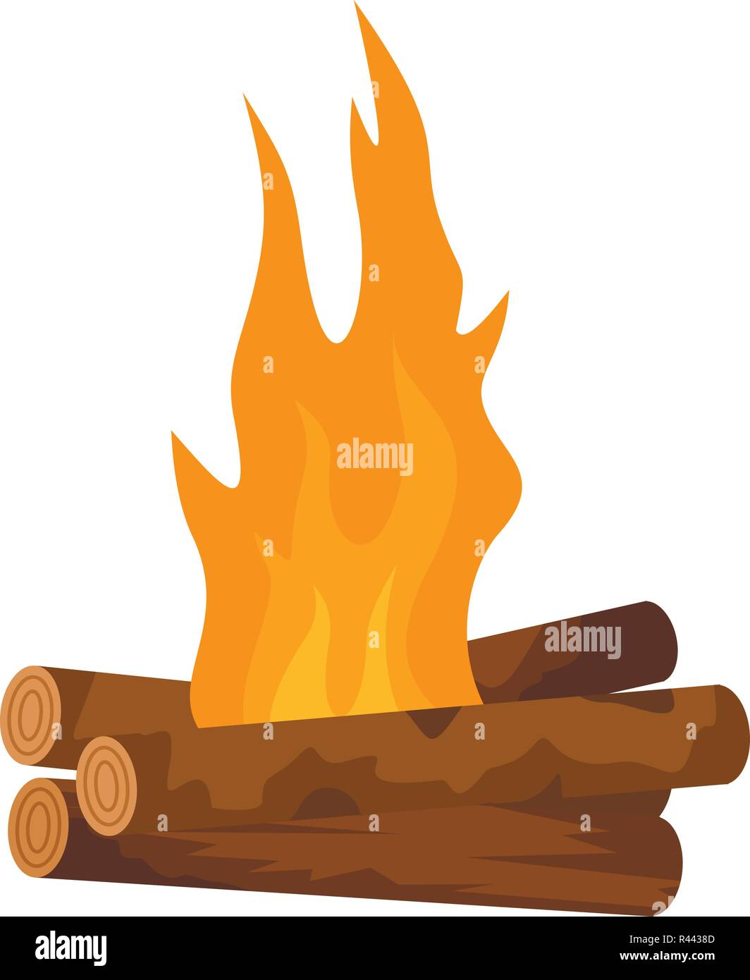 Log cabin fire icon. Flat illustration of log cabin fire vector icon for web isolated on white - Stock Vector
