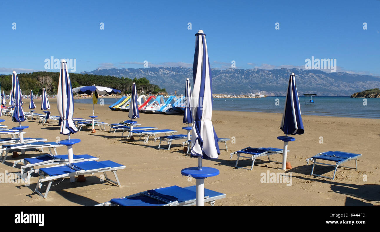 sandy beach in san marino on the island of rab - Stock Image